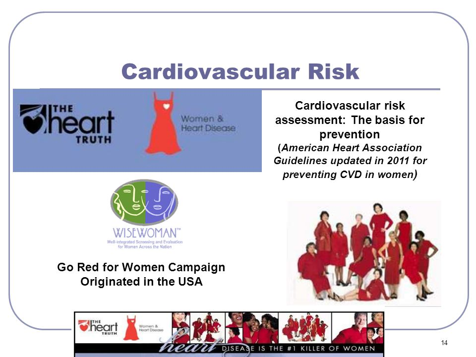 Cardiovascular Risk 14 Go Red for Women Campaign Originated in the USA Cardiovascular risk assessment: The basis for prevention (American Heart Associ