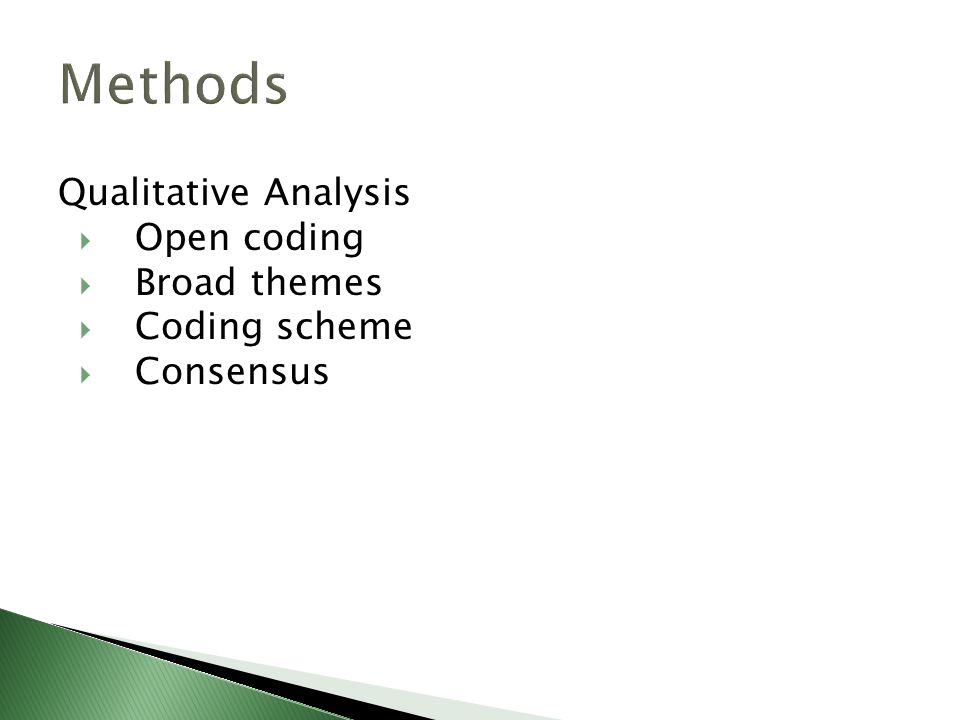 Qualitative Analysis  Open coding  Broad themes  Coding scheme  Consensus