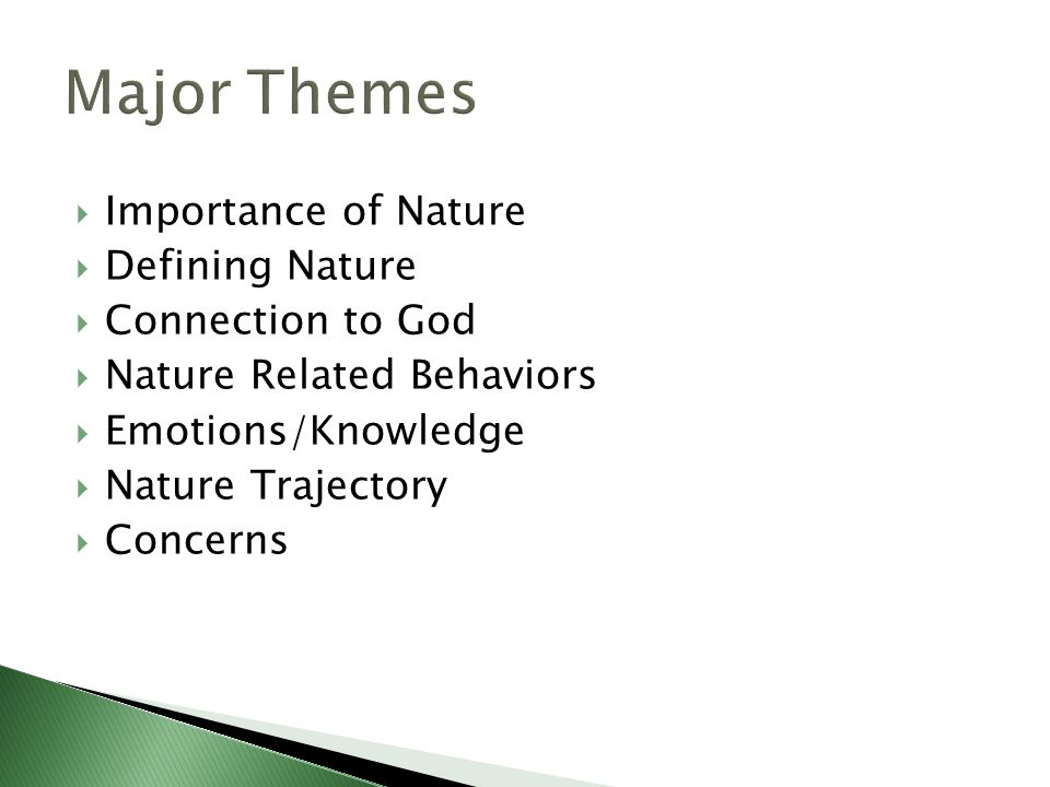  Importance of Nature  Defining Nature  Connection to God  Nature Related Behaviors  Emotions/Knowledge  Nature Trajectory  Concerns