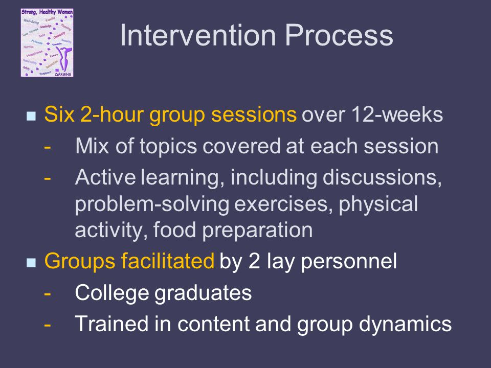 Intervention Process Six 2-hour group sessions over 12-weeks - Mix of topics covered at each session - Active learning, including discussions, problem-solving exercises, physical activity, food preparation Groups facilitated by 2 lay personnel -College graduates - Trained in content and group dynamics