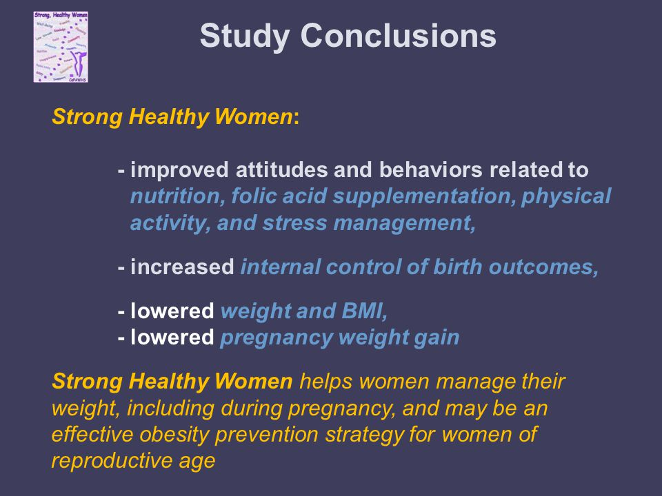 Study Conclusions Strong Healthy Women: - improved attitudes and behaviors related to nutrition, folic acid supplementation, physical activity, and stress management, - increased internal control of birth outcomes, - lowered weight and BMI, - lowered pregnancy weight gain Strong Healthy Women helps women manage their weight, including during pregnancy, and may be an effective obesity prevention strategy for women of reproductive age