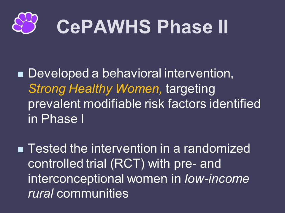 Strong Healthy Women Intervention Behavioral intervention for small groups of pre- and interconceptional women Designed to be implemented in community or clinical settings by lay facilitators Targets multiple risk factors simultaneously Based on theories of behavior change (Social Cognitive Approach)