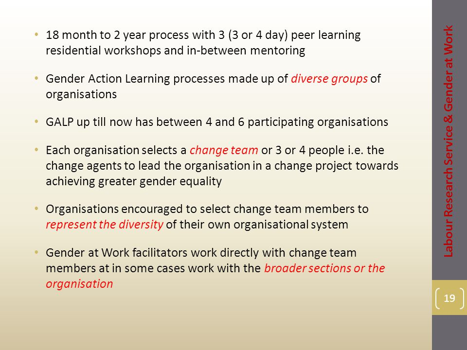 18 month to 2 year process with 3 (3 or 4 day) peer learning residential workshops and in-between mentoring Gender Action Learning processes made up of diverse groups of organisations GALP up till now has between 4 and 6 participating organisations Each organisation selects a change team or 3 or 4 people i.e.