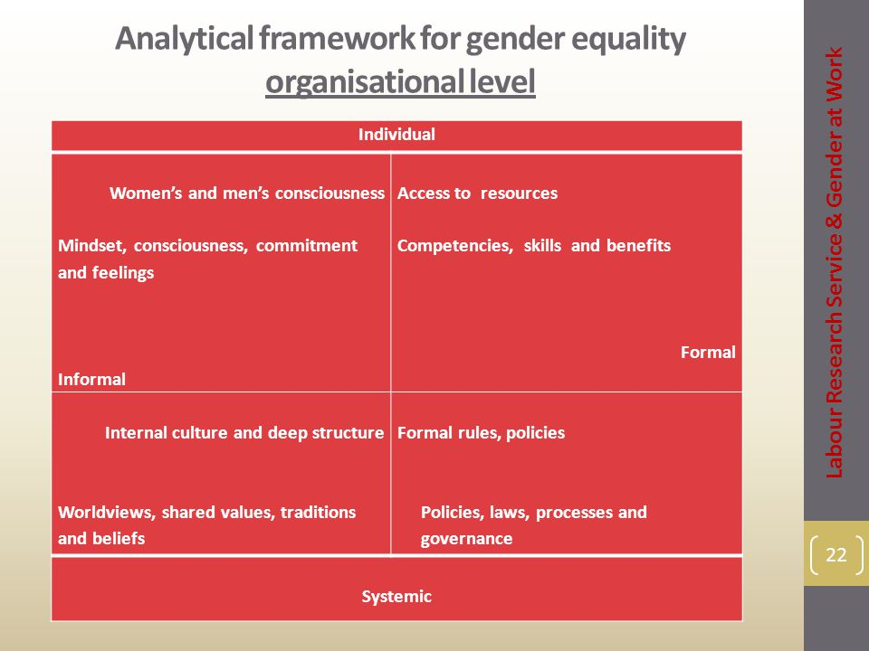 Analytical framework for gender equality organisational level 22 Individual Women's and men's consciousness Mindset, consciousness, commitment and feelings Informal Access to resources Competencies, skills and benefits Formal Internal culture and deep structure Worldviews, shared values, traditions and beliefs Formal rules, policies Policies, laws, processes and governance Systemic Labour Research Service & Gender at Work