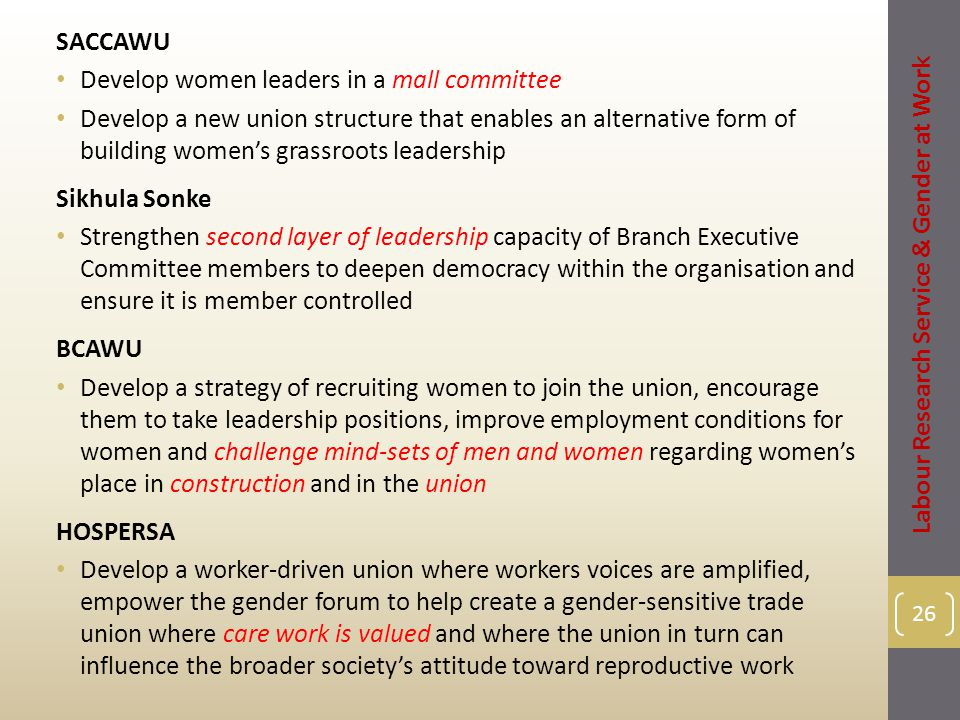 SACCAWU Develop women leaders in a mall committee Develop a new union structure that enables an alternative form of building women's grassroots leadership Sikhula Sonke Strengthen second layer of leadership capacity of Branch Executive Committee members to deepen democracy within the organisation and ensure it is member controlled BCAWU Develop a strategy of recruiting women to join the union, encourage them to take leadership positions, improve employment conditions for women and challenge mind-sets of men and women regarding women's place in construction and in the union HOSPERSA Develop a worker-driven union where workers voices are amplified, empower the gender forum to help create a gender-sensitive trade union where care work is valued and where the union in turn can influence the broader society's attitude toward reproductive work 26 Labour Research Service & Gender at Work