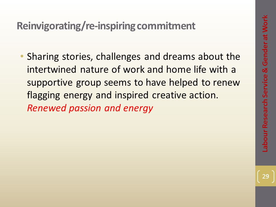 Reinvigorating/re-inspiring commitment Sharing stories, challenges and dreams about the intertwined nature of work and home life with a supportive group seems to have helped to renew flagging energy and inspired creative action.