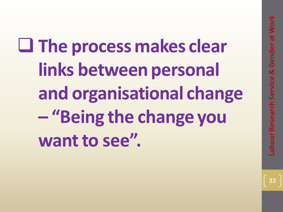  The process makes clear links between personal and organisational change – Being the change you want to see .