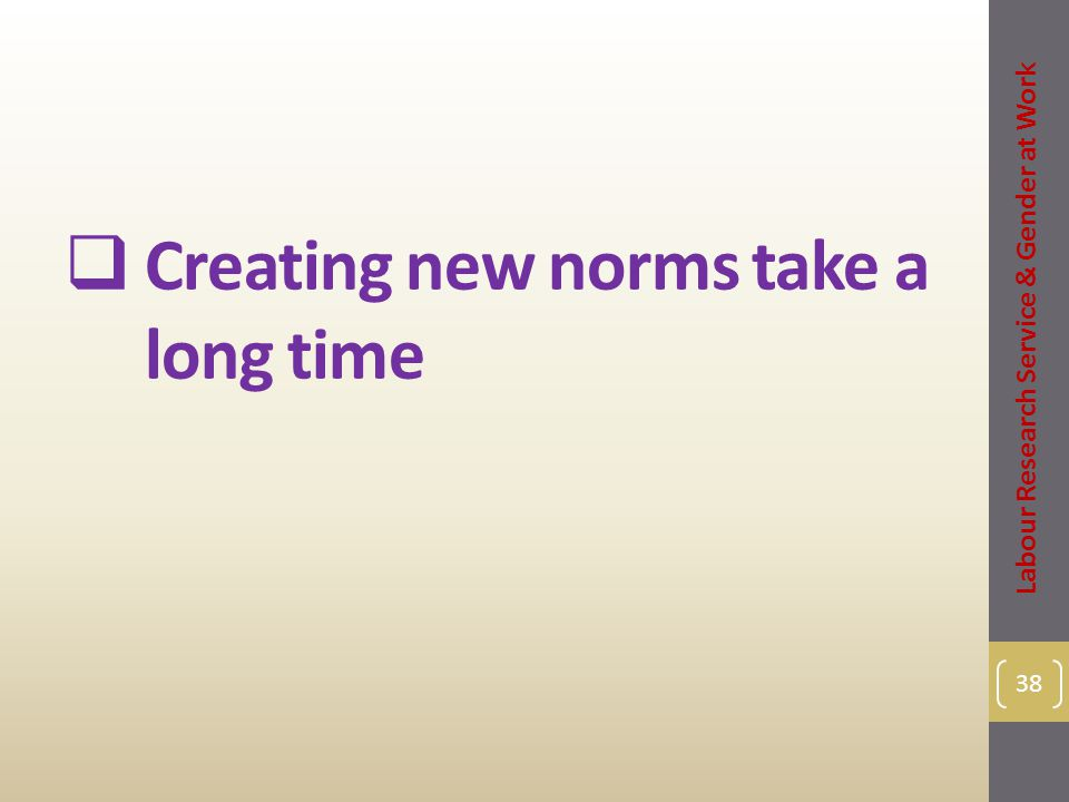  Creating new norms take a long time 38 Labour Research Service & Gender at Work