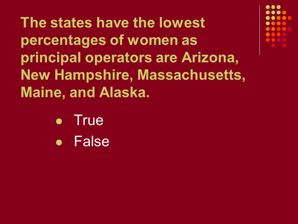 The states have the lowest percentages of women as principal operators are Arizona, New Hampshire, Massachusetts, Maine, and Alaska. True False