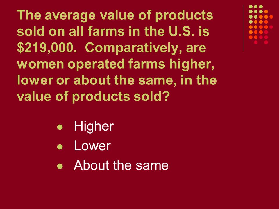 The average value of products sold on all farms in the U.S. is $219,000. Comparatively, are women operated farms higher, lower or about the same, in t