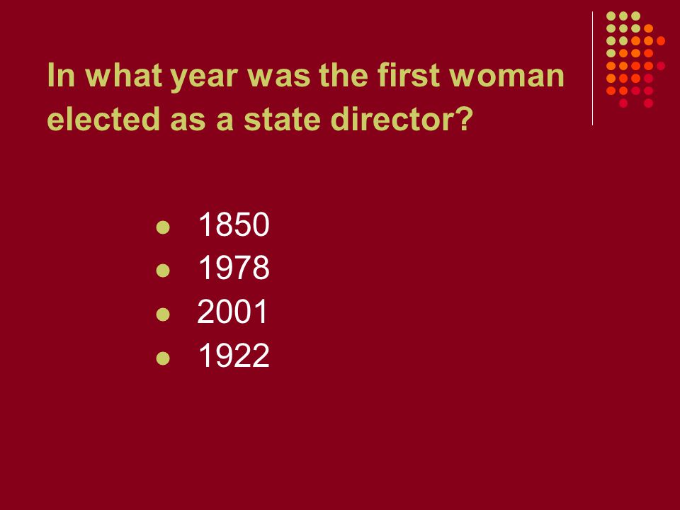 In what year was the first woman elected as a state director 1850 1978 2001 1922