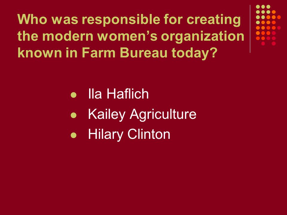 Who was responsible for creating the modern women's organization known in Farm Bureau today? Ila Haflich Kailey Agriculture Hilary Clinton