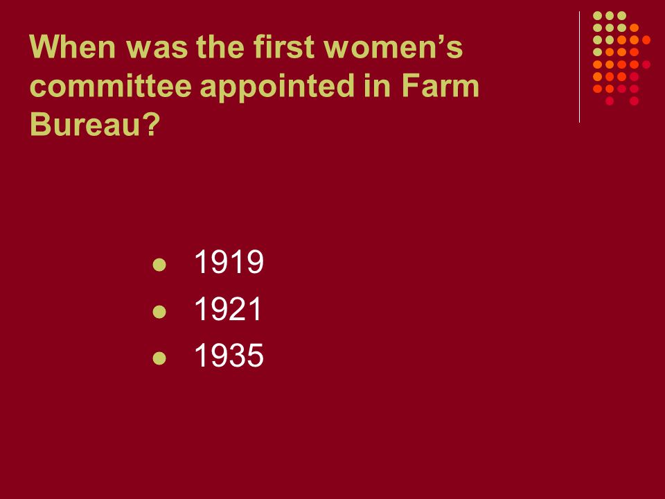 When was the first women's committee appointed in Farm Bureau? 1919 1921 1935