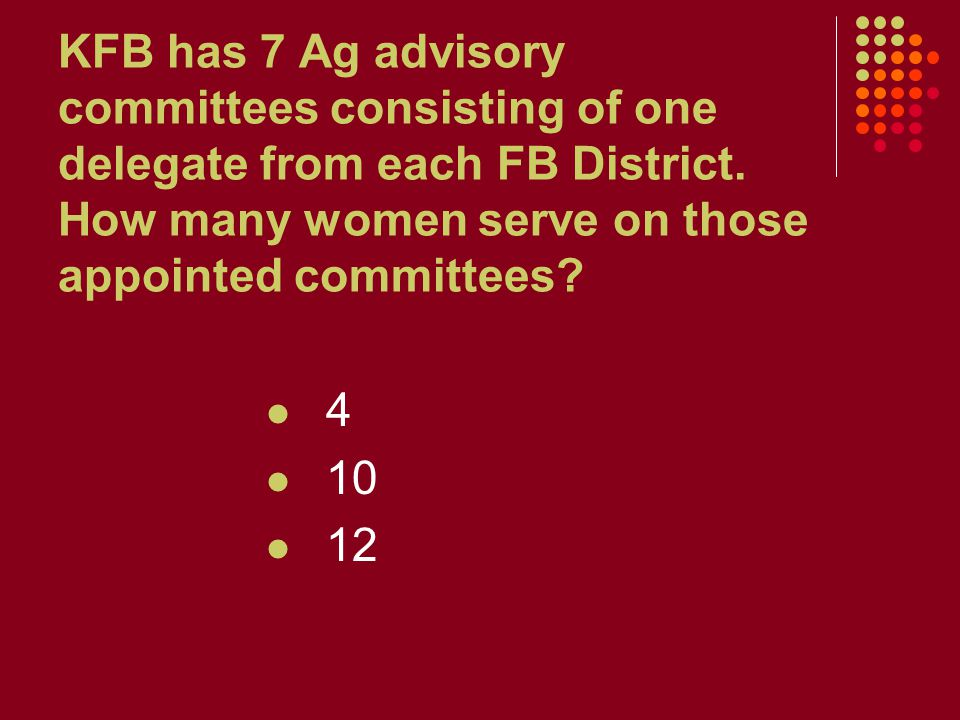 KFB has 7 Ag advisory committees consisting of one delegate from each FB District. How many women serve on those appointed committees? 4 10 12