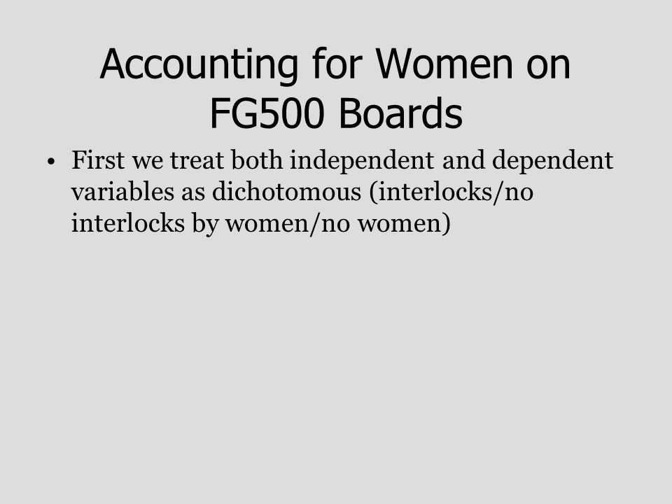 Accounting for Women on FG500 Boards First we treat both independent and dependent variables as dichotomous (interlocks/no interlocks by women/no women)