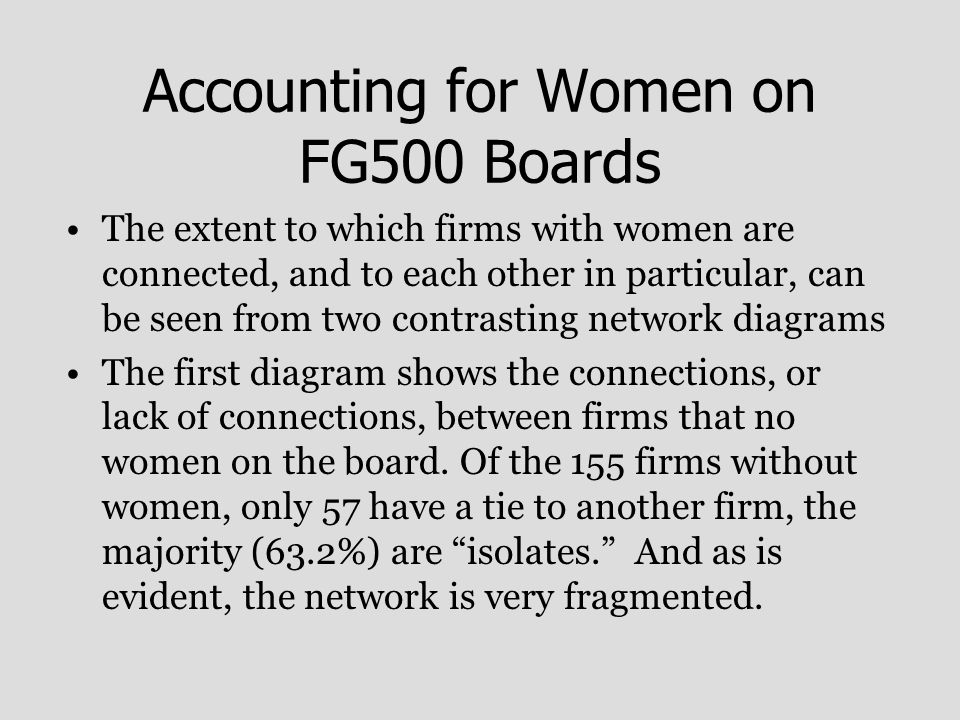 Accounting for Women on FG500 Boards The extent to which firms with women are connected, and to each other in particular, can be seen from two contrasting network diagrams The first diagram shows the connections, or lack of connections, between firms that no women on the board.