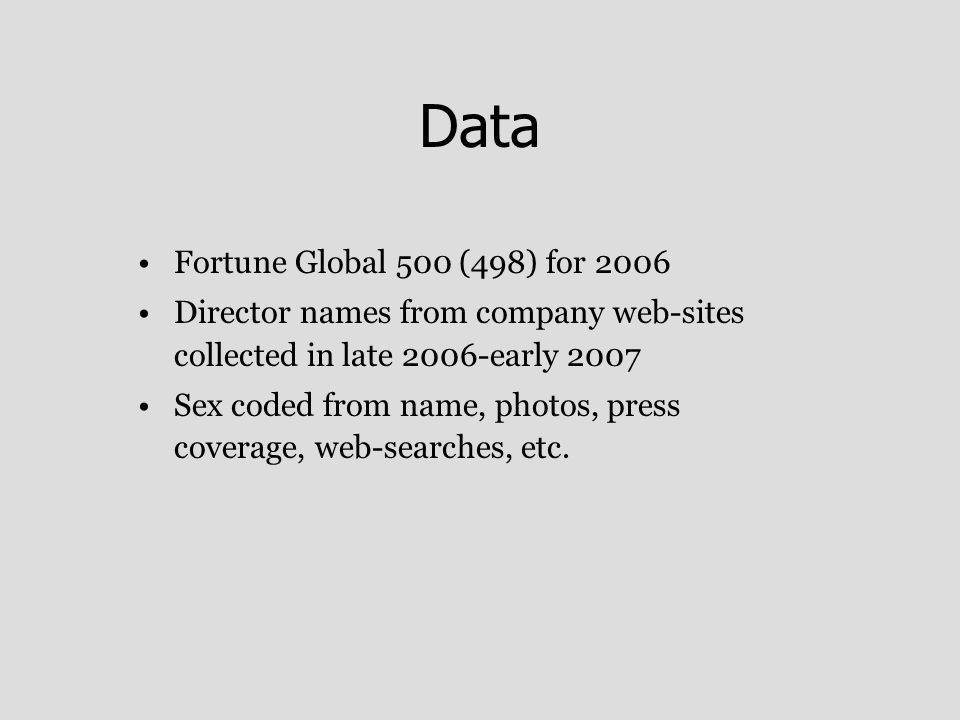 Data Fortune Global 500 (498) for 2006 Director names from company web-sites collected in late 2006-early 2007 Sex coded from name, photos, press coverage, web-searches, etc.