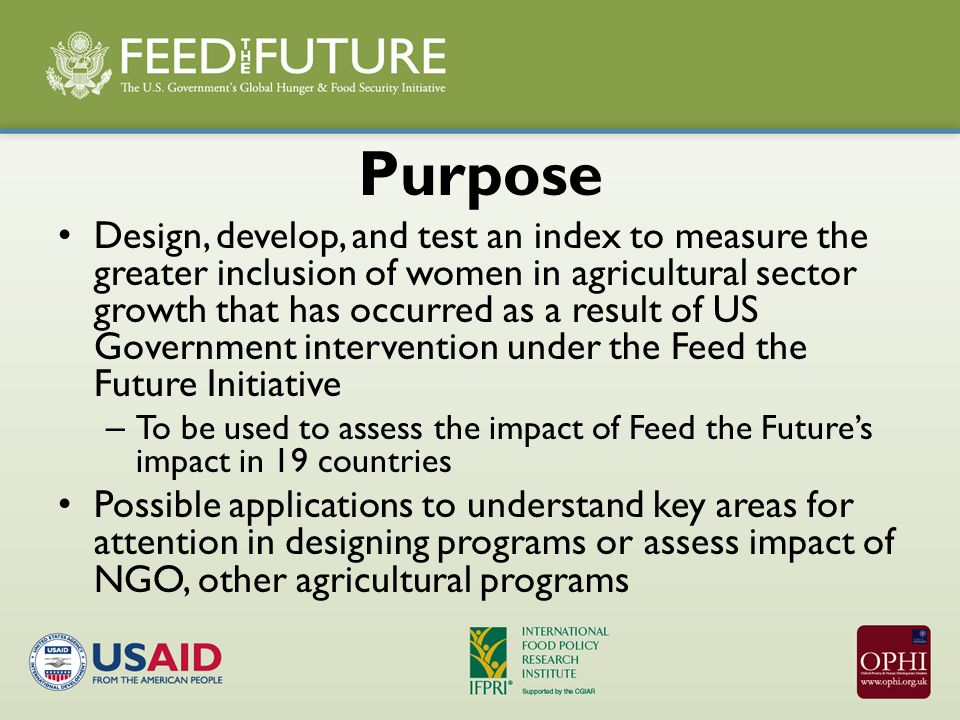 Purpose Design, develop, and test an index to measure the greater inclusion of women in agricultural sector growth that has occurred as a result of US Government intervention under the Feed the Future Initiative – To be used to assess the impact of Feed the Future's impact in 19 countries Possible applications to understand key areas for attention in designing programs or assess impact of NGO, other agricultural programs