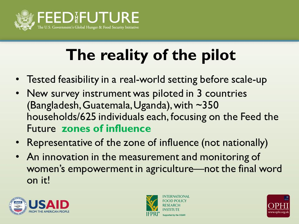 The reality of the pilot Tested feasibility in a real-world setting before scale-up New survey instrument was piloted in 3 countries (Bangladesh, Guatemala, Uganda), with ~350 households/625 individuals each, focusing on the Feed the Future zones of influence Representative of the zone of influence (not nationally) An innovation in the measurement and monitoring of women's empowerment in agriculture—not the final word on it!