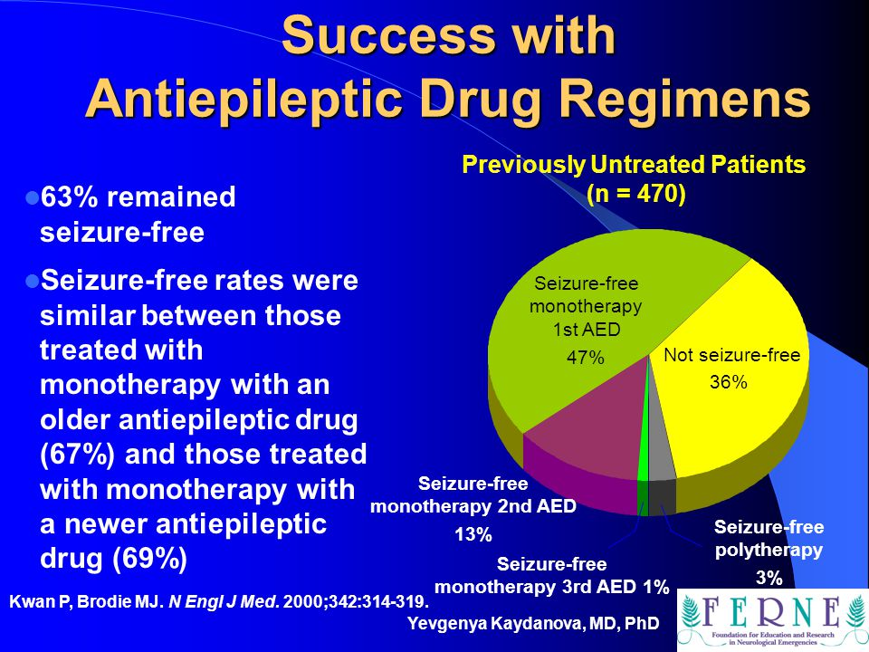 Yevgenya Kaydanova, MD, PhD Success with Antiepileptic Drug Regimens 63% remained seizure-free Seizure-free rates were similar between those treated w