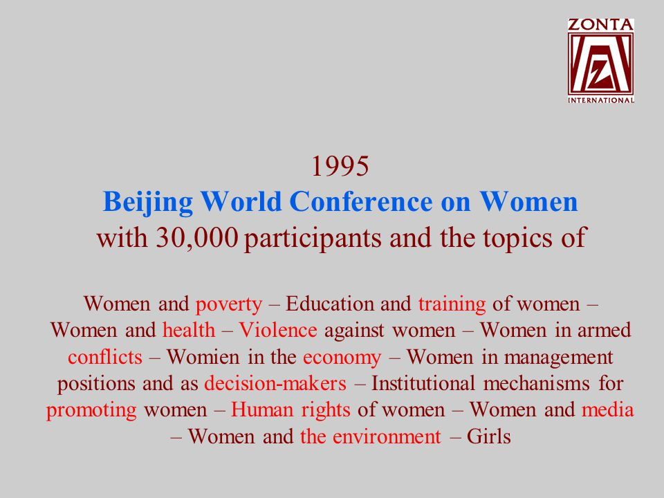UN World Conferences on Women 1975 Mexico City 1980 Copenhagen 1985 Nairobi 1995 Beijing