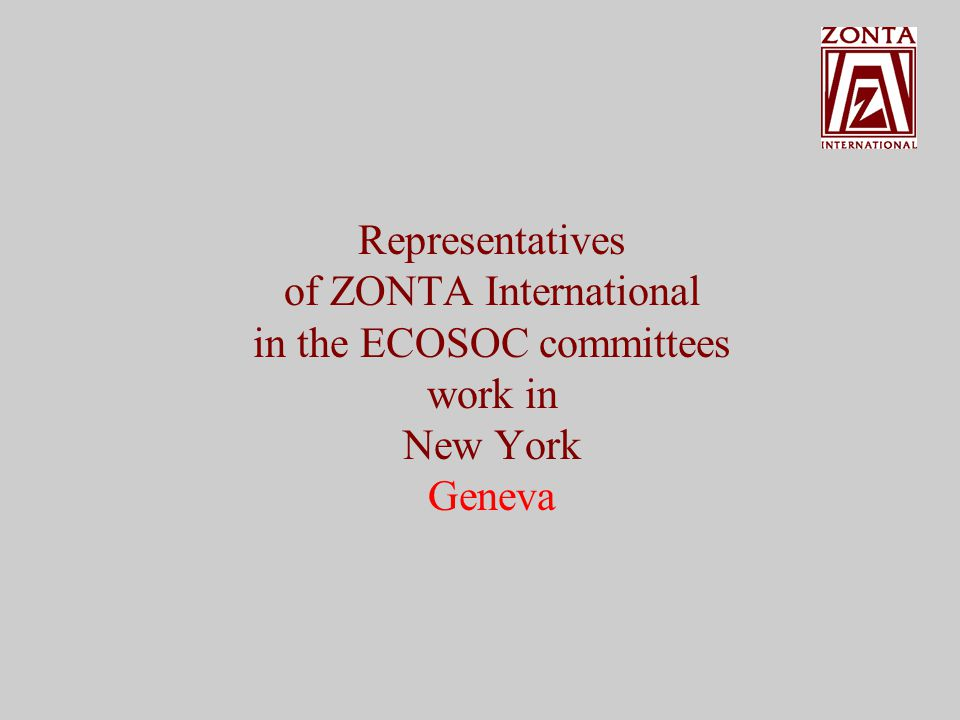Representatives of ZONTA International in the ECOSOC committees work in New York