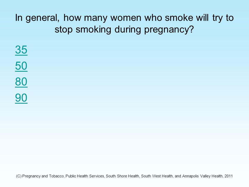 Correct: The Answer is 26% According to 2009 Nova Scotia Reproductive Care Program Data – 26 percent of women in Nova Scotia smoke during pregnancy.