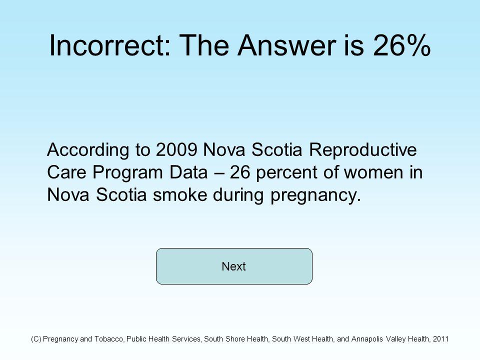Incorrect: The Answer is 26% According to 2009 Nova Scotia Reproductive Care Program Data – 26 percent of women in Nova Scotia smoke during pregnancy.