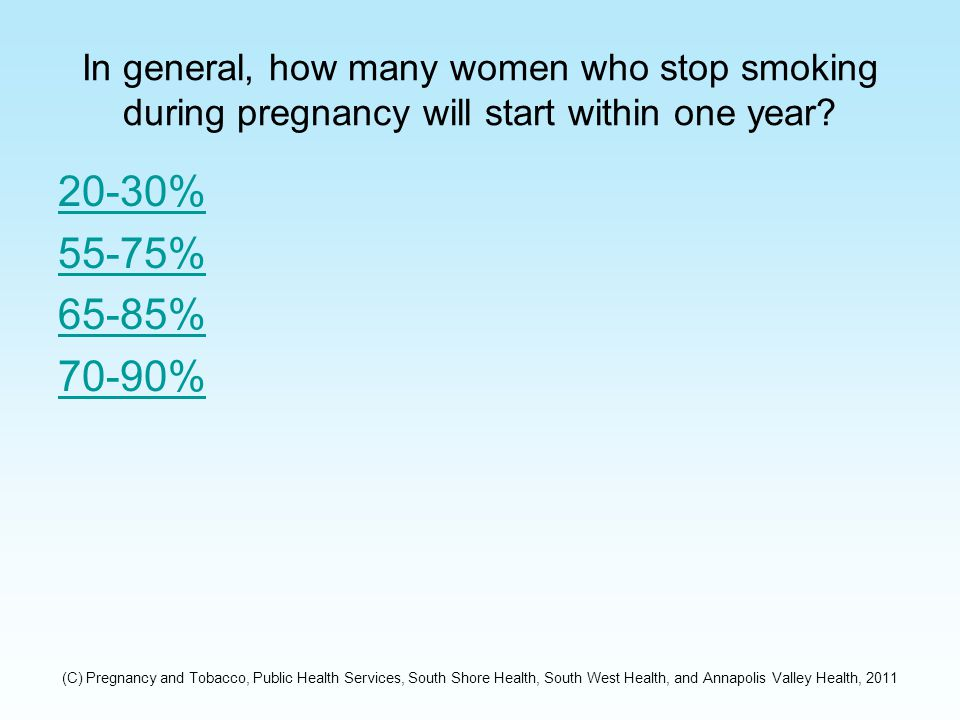 Incorrect Relapse rates vary, but one study found that before delivery 25% of women will start smoking again, within 4 months of delivery 50% of women will start smoking again, and by one year of delivery 70-90% of women will start smoking again.