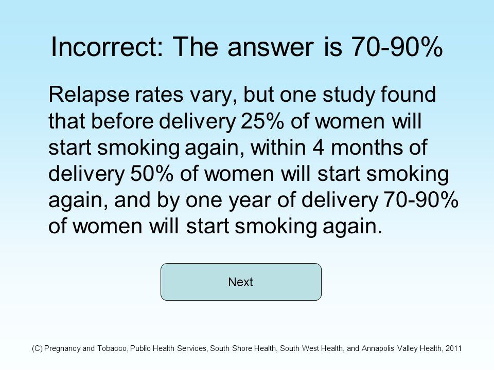 Incorrect: The answer is 70-90% Relapse rates vary, but one study found that before delivery 25% of women will start smoking again, within 4 months of delivery 50% of women will start smoking again, and by one year of delivery 70-90% of women will start smoking again.