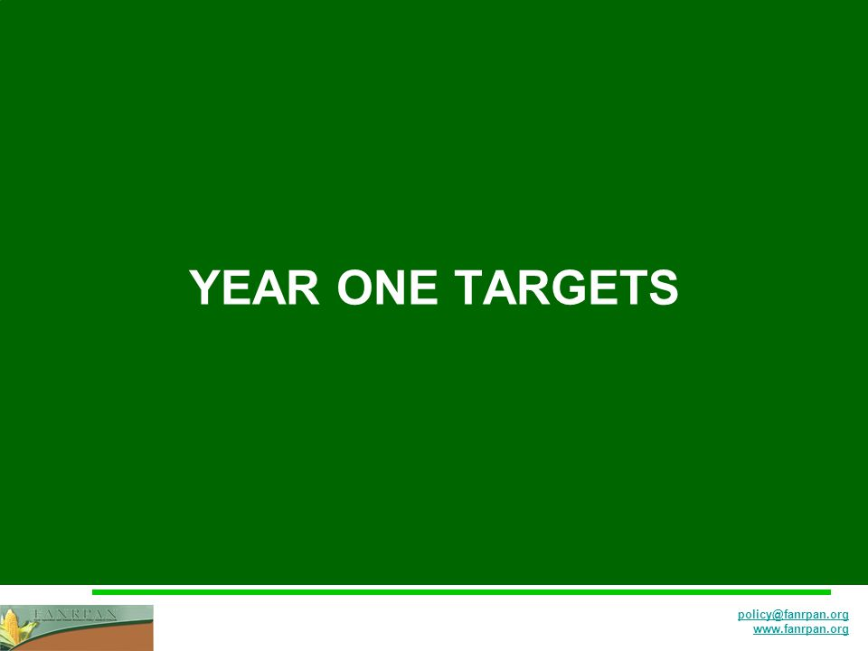 policy@fanrpan.org www.fanrpan.org YEAR ONE TARGETS