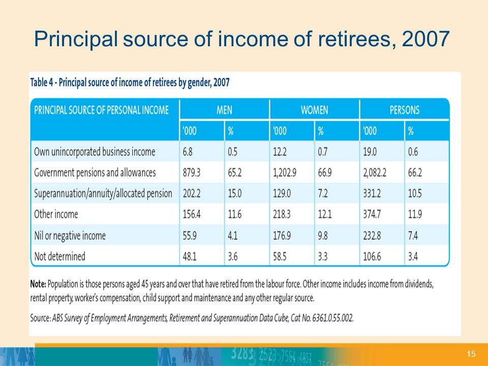 15 Principal source of income of retirees, 2007