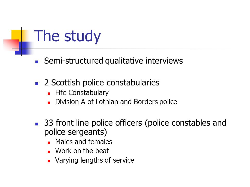The study Semi-structured qualitative interviews 2 Scottish police constabularies Fife Constabulary Division A of Lothian and Borders police 33 front line police officers (police constables and police sergeants) Males and females Work on the beat Varying lengths of service