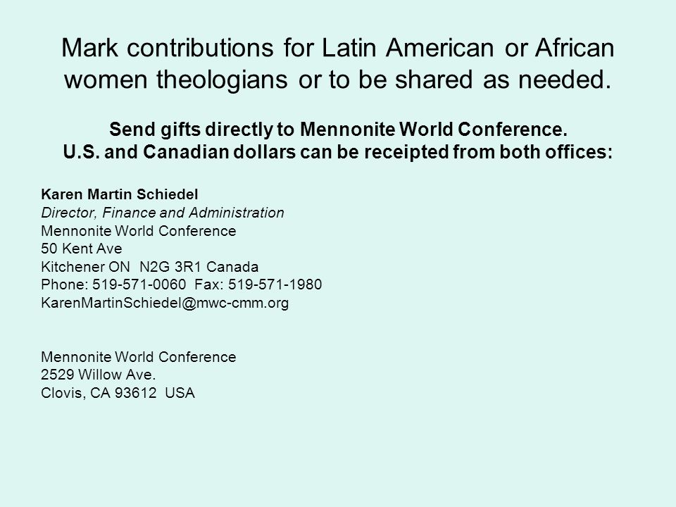 Mark contributions for Latin American or African women theologians or to be shared as needed.