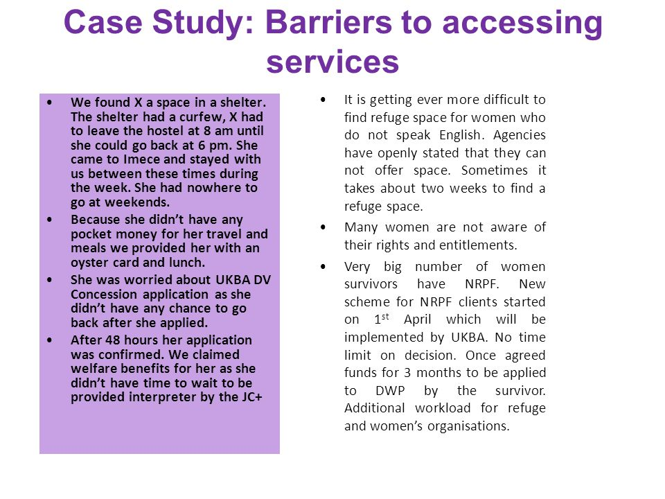 Case Study: Barriers to accessing services We found X a space in a shelter.