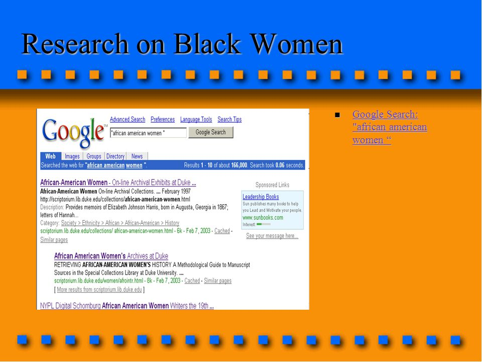 Research on Black Women n Google Search: african american women Google Search: african american women Google Search: african american women