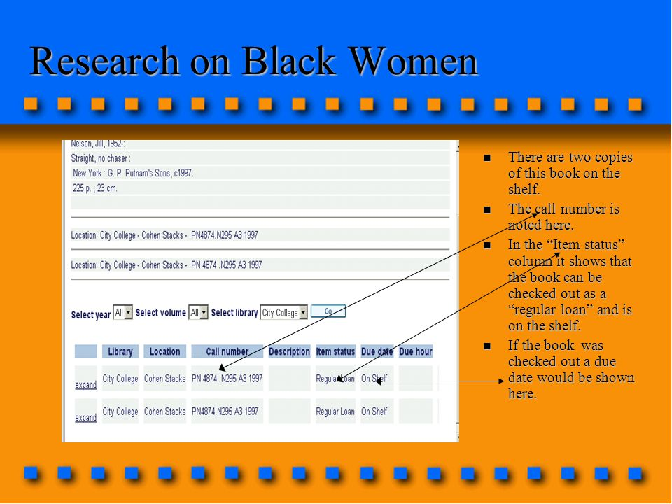 Research on Black Women n There are two copies of this book on the shelf.