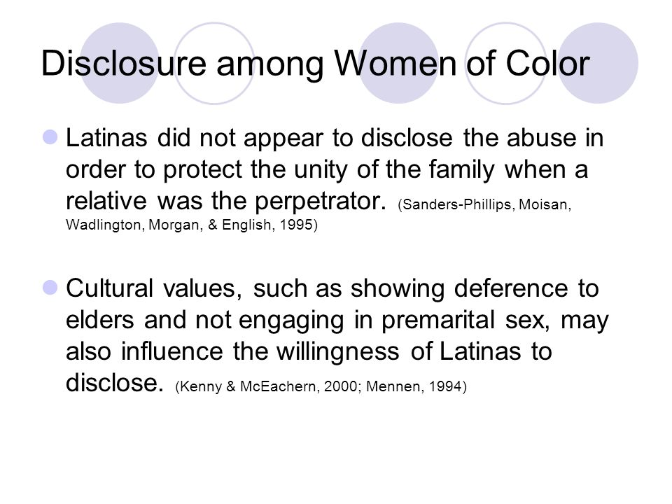 Disclosure among Women of Color Latinas did not appear to disclose the abuse in order to protect the unity of the family when a relative was the perpetrator.