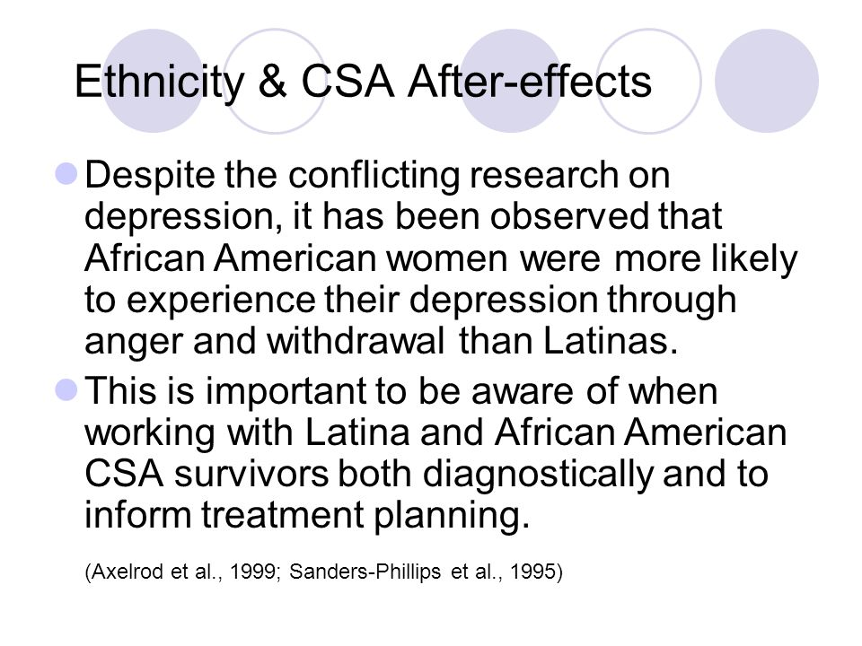 Ethnicity & CSA After-effects Despite the conflicting research on depression, it has been observed that African American women were more likely to experience their depression through anger and withdrawal than Latinas.