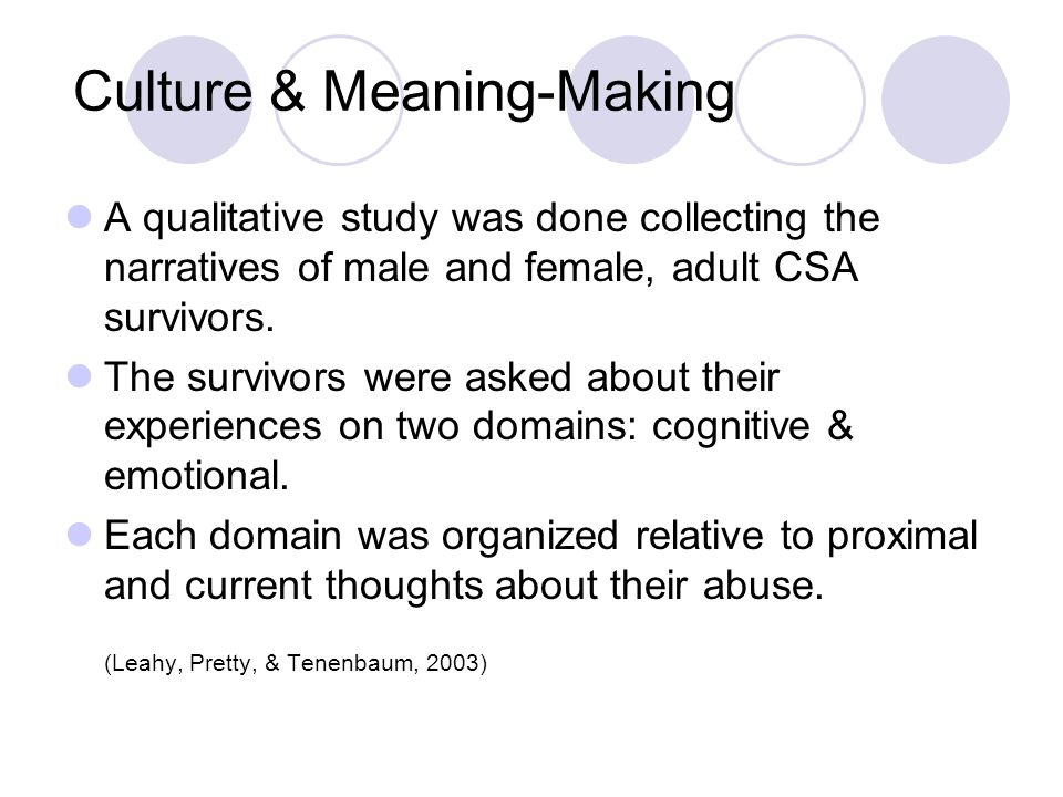 Culture & Meaning-Making A qualitative study was done collecting the narratives of male and female, adult CSA survivors. The survivors were asked abou
