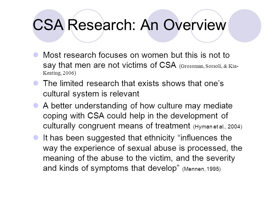 Most research focuses on women but this is not to say that men are not victims of CSA ( Grossman, Sorsoli, & Kia- Keating, 2006 ) The limited research that exists shows that one's cultural system is relevant A better understanding of how culture may mediate coping with CSA could help in the development of culturally congruent means of treatment (Hyman et al., 2004) It has been suggested that ethnicity influences the way the experience of sexual abuse is processed, the meaning of the abuse to the victim, and the severity and kinds of symptoms that develop (Mennen, 1995) CSA Research: An Overview