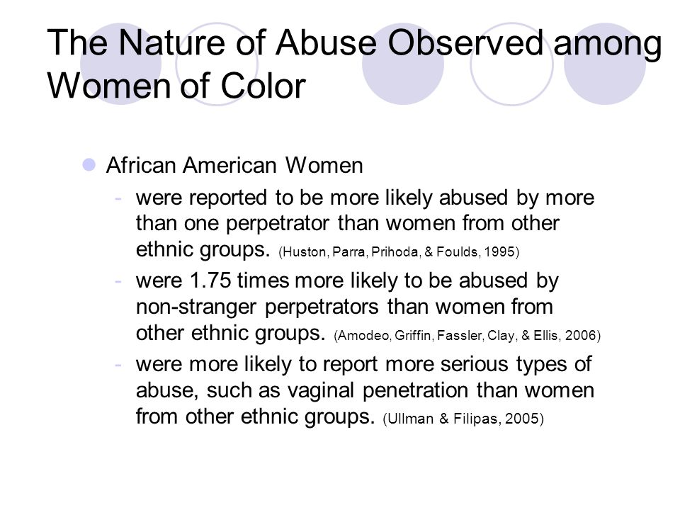 The Nature of Abuse Observed among Women of Color African American Women -were reported to be more likely abused by more than one perpetrator than wom