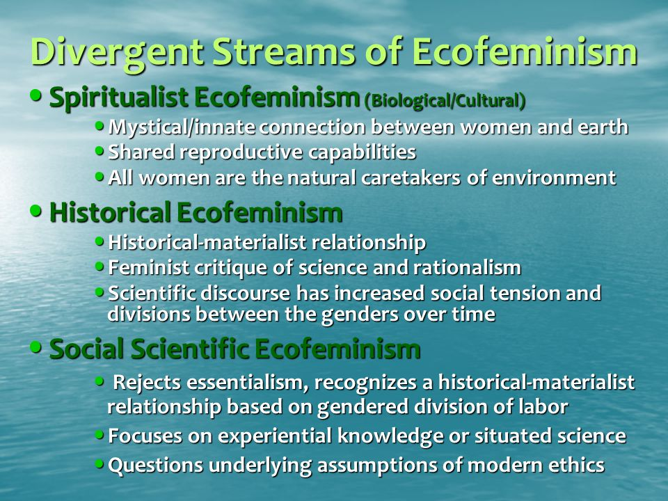 Divergent Streams of Ecofeminism Spiritualist Ecofeminism (Biological/Cultural) Spiritualist Ecofeminism (Biological/Cultural) Mystical/innate connection between women and earth Mystical/innate connection between women and earth Shared reproductive capabilities Shared reproductive capabilities All women are the natural caretakers of environment All women are the natural caretakers of environment Historical Ecofeminism Historical Ecofeminism Historical-materialist relationship Historical-materialist relationship Feminist critique of science and rationalism Feminist critique of science and rationalism Scientific discourse has increased social tension and divisions between the genders over time Scientific discourse has increased social tension and divisions between the genders over time Social Scientific Ecofeminism Social Scientific Ecofeminism Rejects essentialism, recognizes a historical-materialist relationship based on gendered division of labor Rejects essentialism, recognizes a historical-materialist relationship based on gendered division of labor Focuses on experiential knowledge or situated science Focuses on experiential knowledge or situated science Questions underlying assumptions of modern ethics Questions underlying assumptions of modern ethics