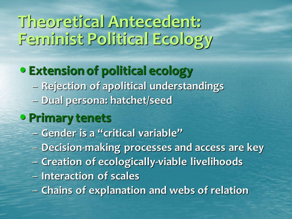 Theoretical Antecedent: Feminist Political Ecology Extension of political ecology Extension of political ecology –Rejection of apolitical understandin