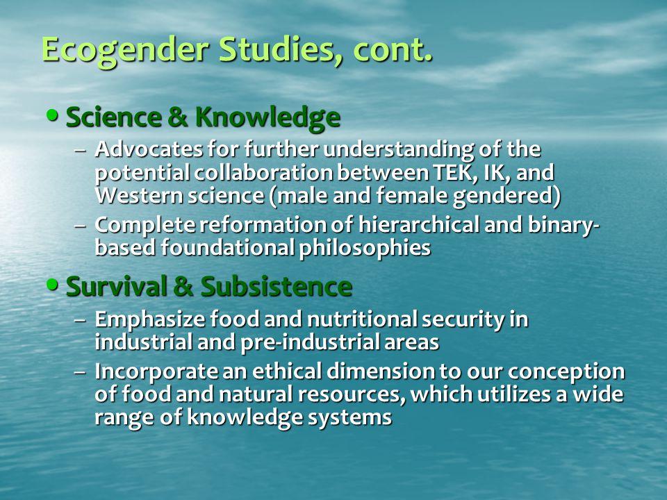 Ecogender Studies, cont.