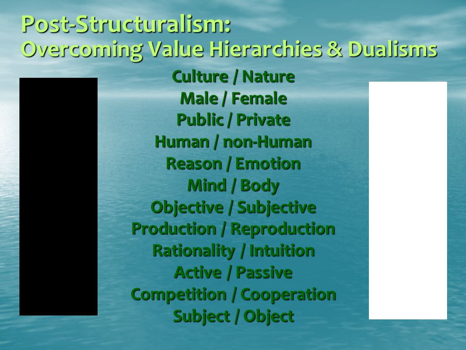 Post-Structuralism: Overcoming Value Hierarchies & Dualisms Culture / Nature Male / Female Public / Private Human / non-Human Reason / Emotion Mind /