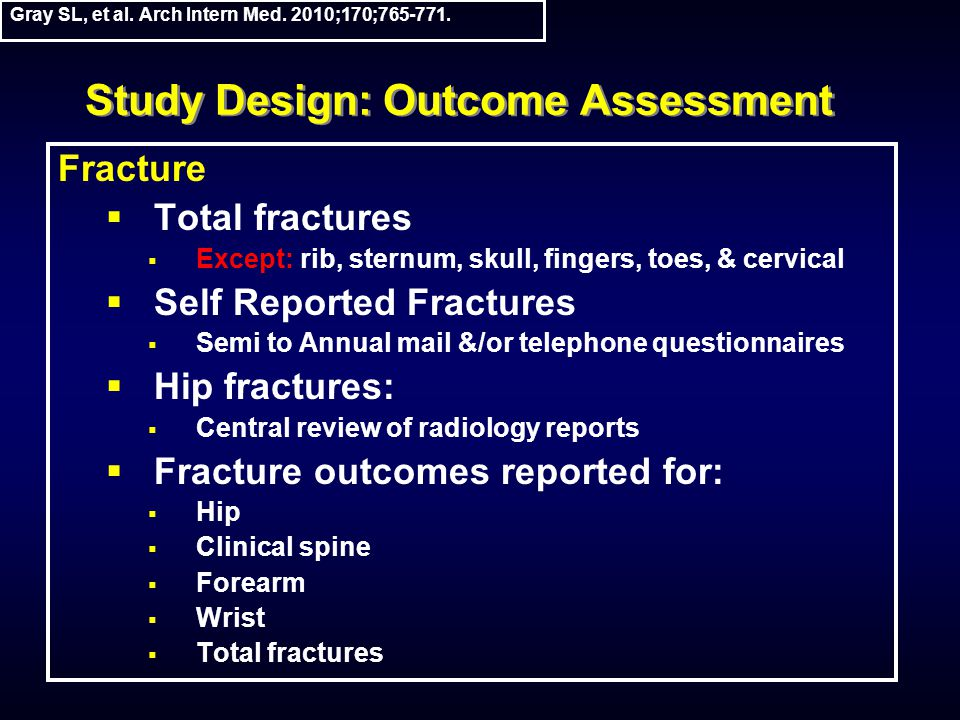 Study Design: Outcome Assessment Fracture  Total fractures  Except: rib, sternum, skull, fingers, toes, & cervical  Self Reported Fractures  Semi to Annual mail &/or telephone questionnaires  Hip fractures:  Central review of radiology reports  Fracture outcomes reported for:  Hip  Clinical spine  Forearm  Wrist  Total fractures Gray SL, et al.