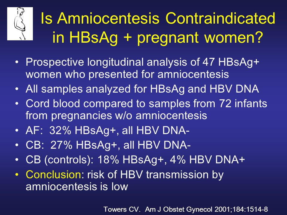 Is Amniocentesis Contraindicated in HBsAg + pregnant women? Prospective longitudinal analysis of 47 HBsAg+ women who presented for amniocentesis All s