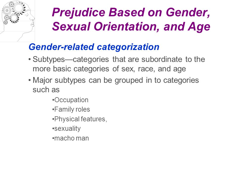 Prejudice Based on Gender, Sexual Orientation, and Age Gender-related categorization Subtypes—categories that are subordinate to the more basic catego
