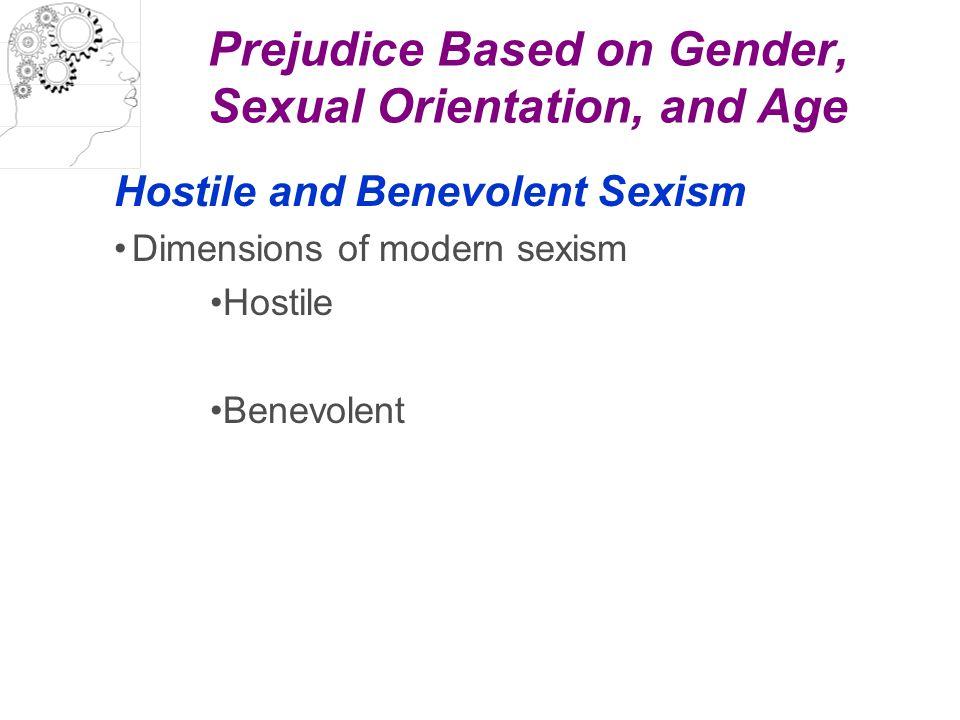 Prejudice Based on Gender, Sexual Orientation, and Age Hostile and Benevolent Sexism Dimensions of modern sexism Hostile Benevolent